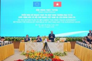 """Hội nghị trực tuyến về """"Triển khai kế hoạch thực thi Hiệp định thương mại tự do Việt Nam – Liên minh châu Âu (EVFTA)"""""""